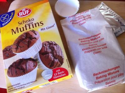Preparado para hacer muffins de chocolate