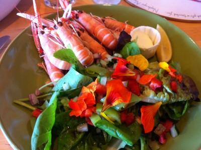 Ulva prawns con ensalada
